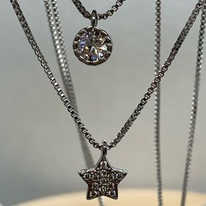 Sterling Silver 925 CZ Double Star Necklace